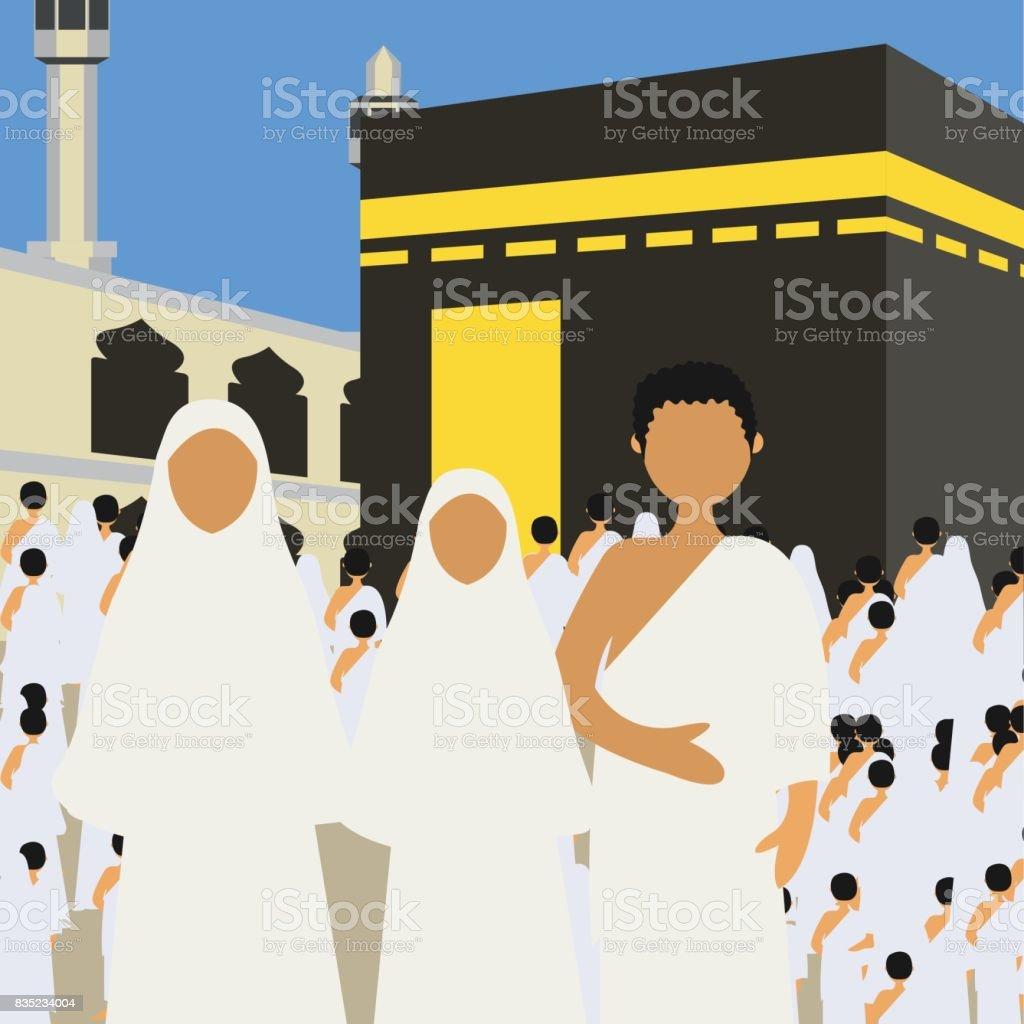 Umrah Banner: Muslim Pilgrims Perform Hajj Umrah Cartoon Character