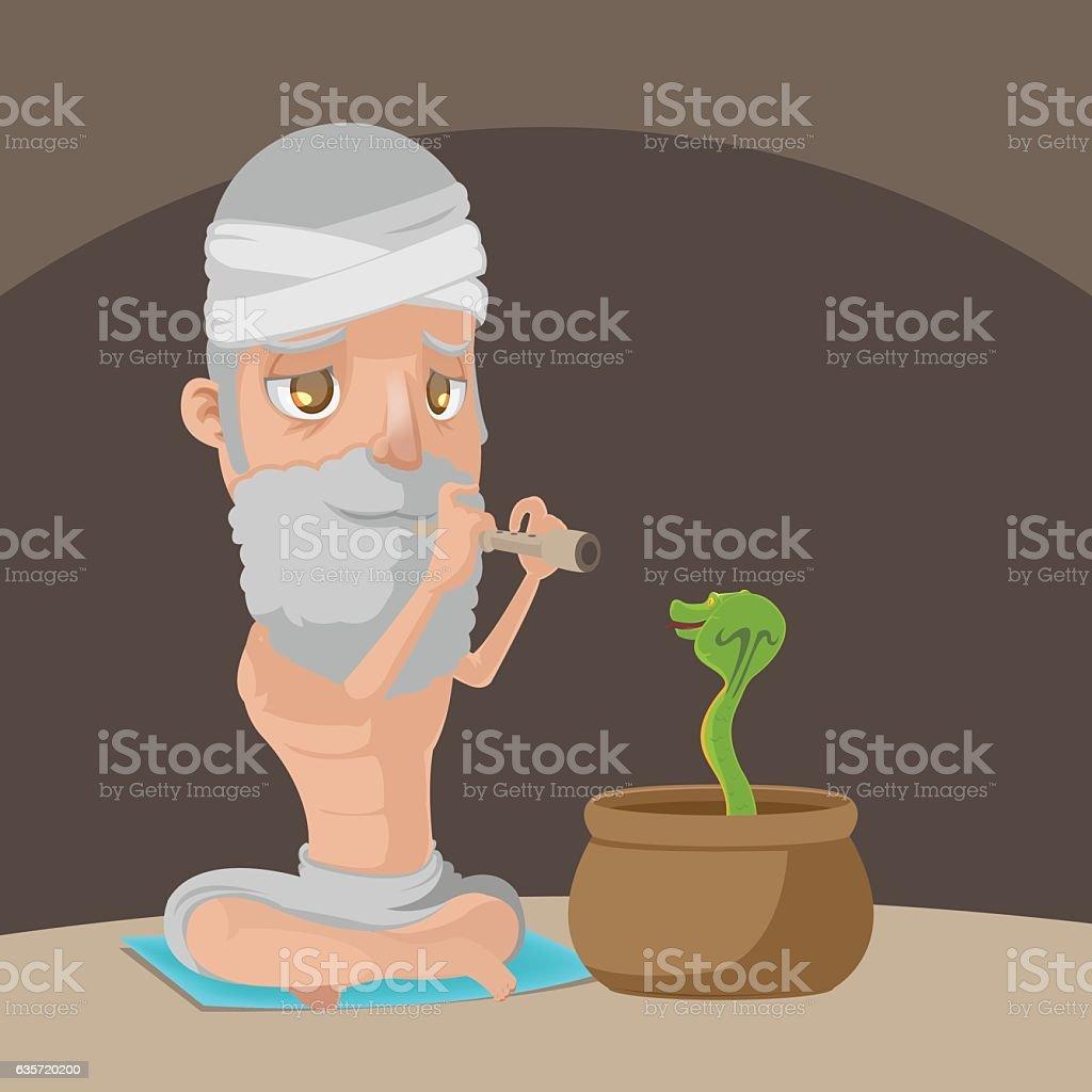 Muslim Play Flute Snake Pot Vector vector art illustration