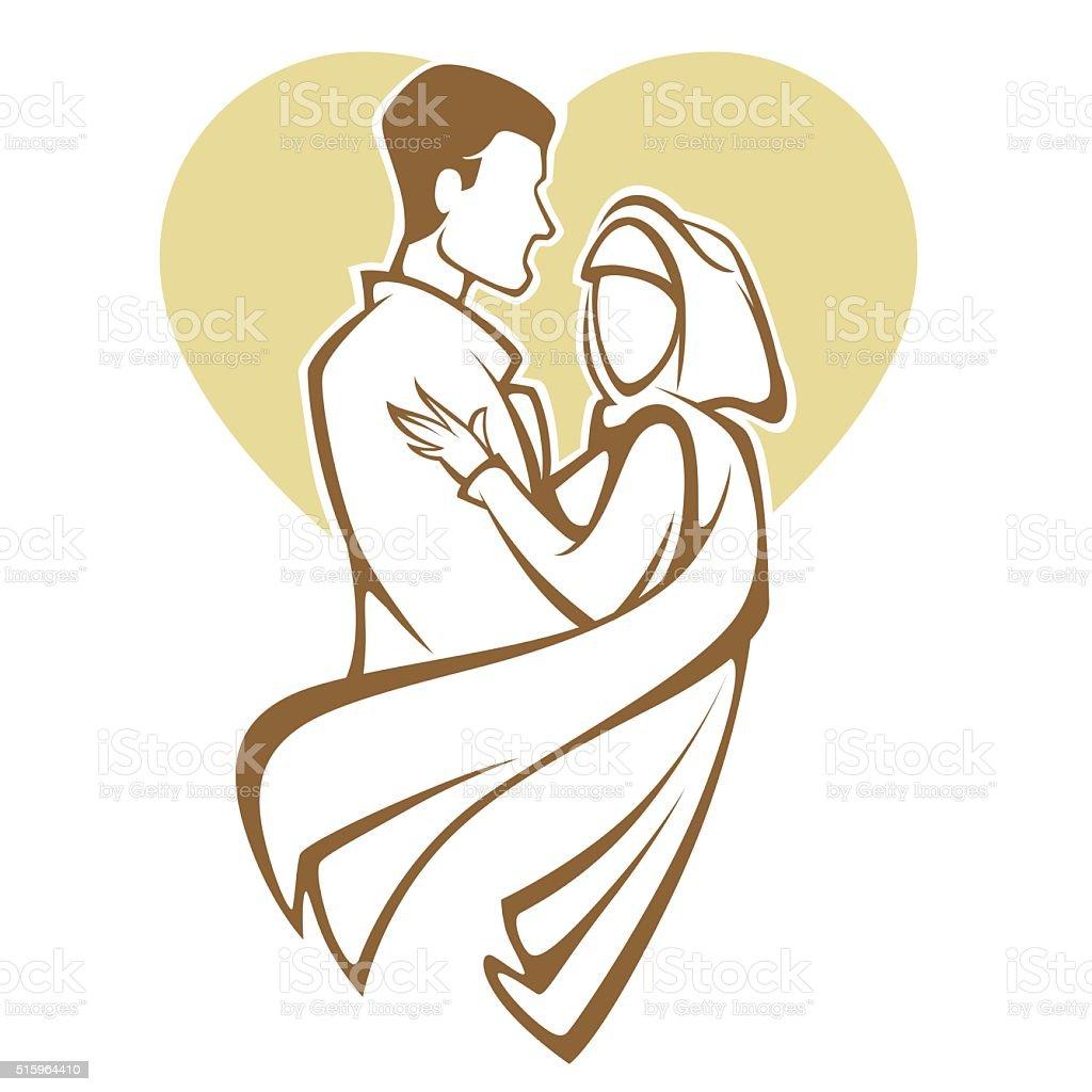 muslim wedding, bride and groom, romantic couple in elegant style vector art illustration