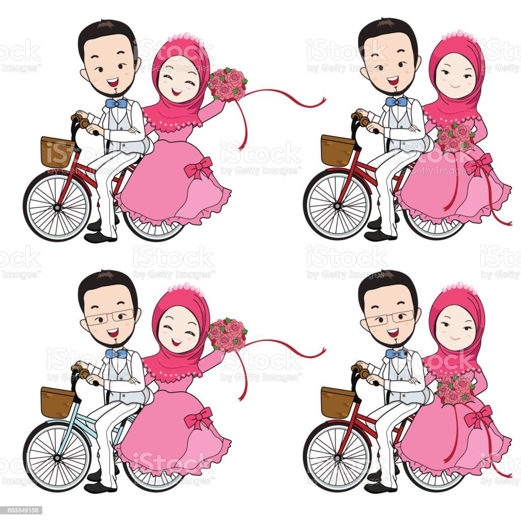muslim wedding cartoon bride and groom riding bicycle with flower