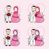 Muslim wedding couple vector cartoon with smiling face