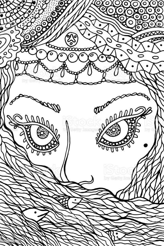 Ilustración de Mujer Musulmana Página Para Colorear Para Adultos ...