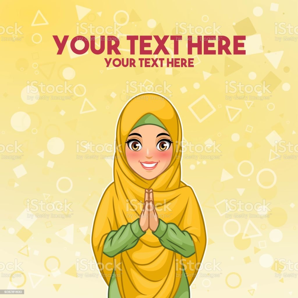 Muslim woman greeting with welcoming hands stock vector art more muslim woman greeting with welcoming hands royalty free muslim woman greeting with welcoming hands stock m4hsunfo