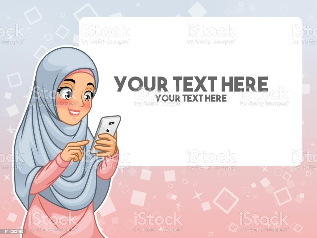 Muslim Woman Hand Touching A Smart Phone By Pointing With Her Finger Royalty Free