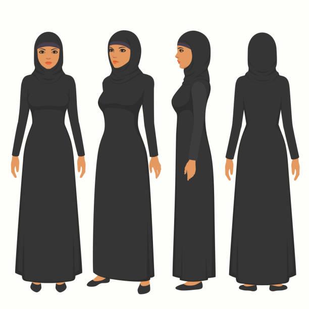 muslimische Frau Illustration, Vektor, Arabische Mädchen Charakter, saudi Cartoon weiblich, Front, Seite und Ansicht von hinten – Vektorgrafik