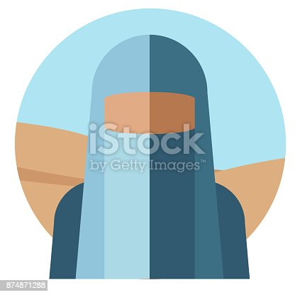Silhouette of a muslim woman in a blue cape with a closed face against a desert background. The concept of nationality. Vector illustration.