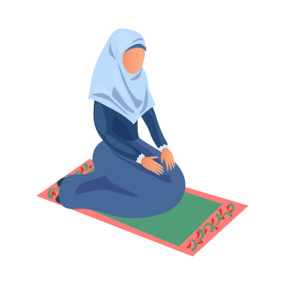 Muslim woman in blue clothes give prayer to Allah