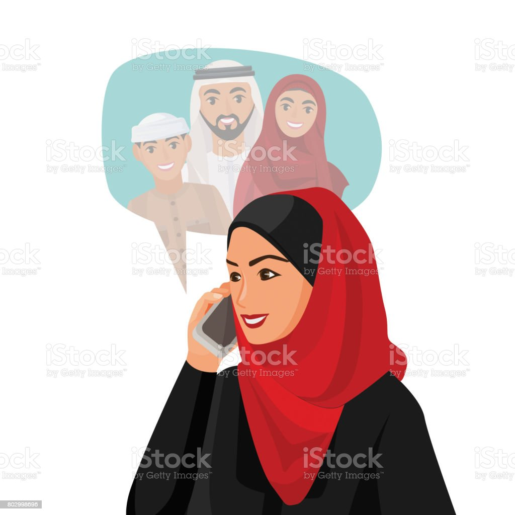 Muslim woman in hijab talking over phone with family vector art illustration