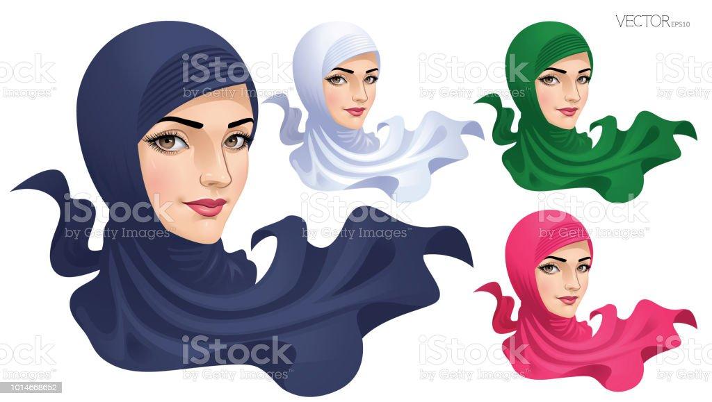 Die muslimische Frau in Hijab_Vector Abbildung EPS 10 – Vektorgrafik