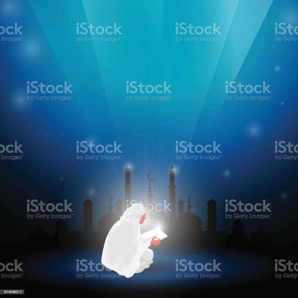 Muslim woman reading Quran abstract blue background. royalty-free muslim woman reading quran abstract blue background stock vector art & more images of adult