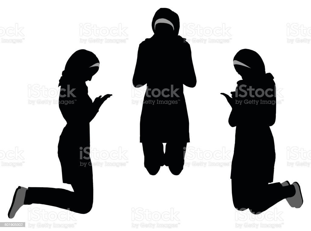 Muslim Woman Silhouette In Pray Pose Stock Vector Art & More