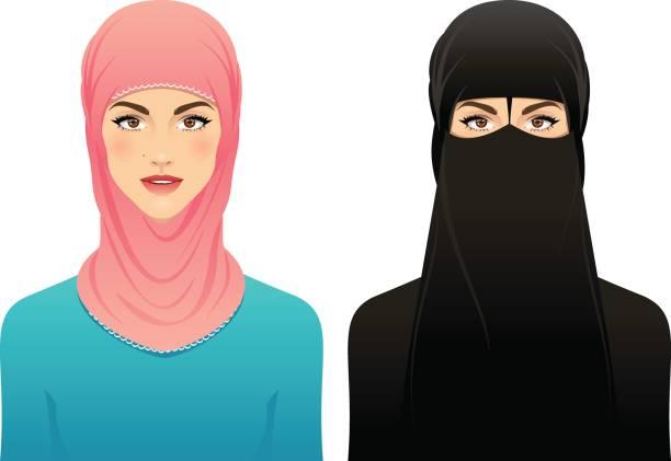 muslim woman - arab stock illustrations