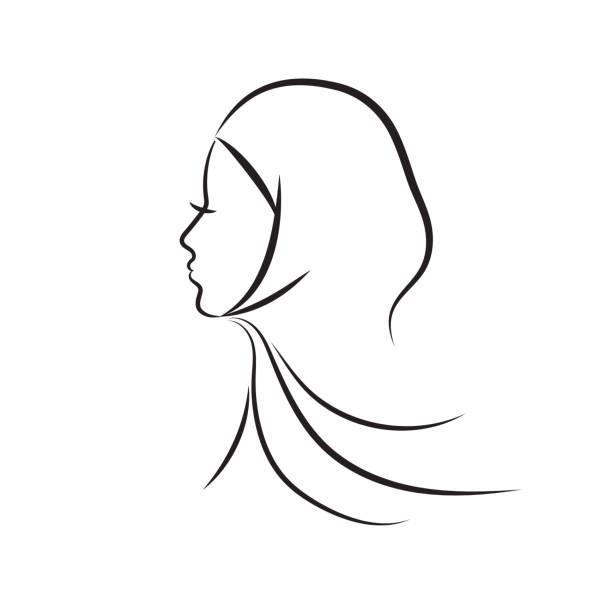 Muslim woman vector illustration Beautiful arab muslim woman profile outline style, vector illustration headscarf stock illustrations