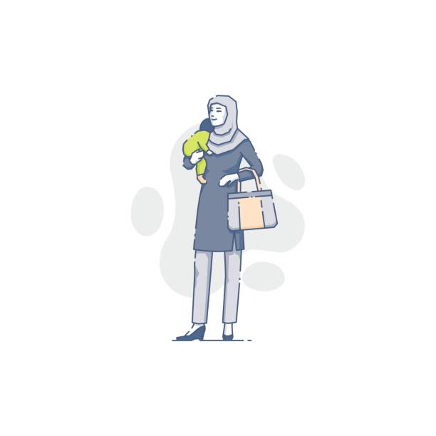 Muslim woman with sleeping baby on her hand vector art illustration