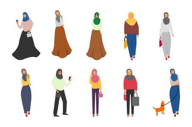 穆斯林婦女設置。可愛的卡通阿拉伯女孩在傳統的禮服。女商人收藏 - emirati woman 幅插畫檔、美工圖案、卡通及圖標