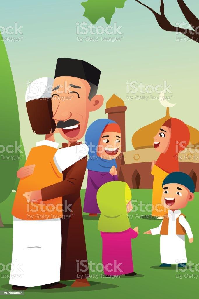 Muslims Celebrating Eid Al Fitr Stock Vector Art & More ...