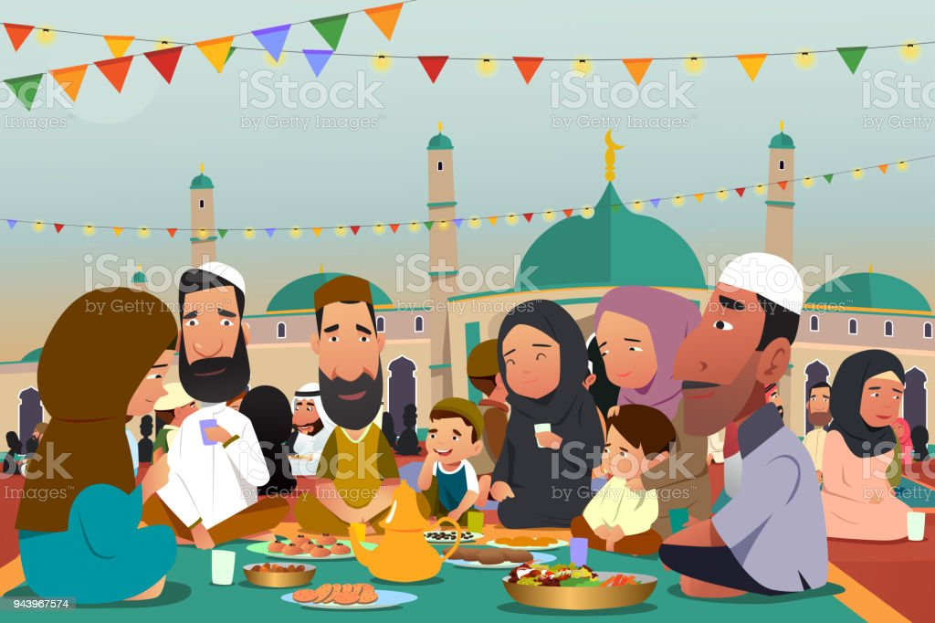 Muslims Eating Together During Ramadan Illustration - Royalty-free Adult stock vector