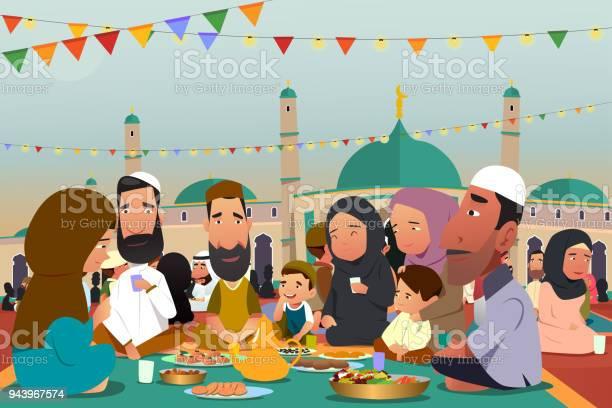 Muslims Eating Together During Ramadan Illustration Stock Illustration - Download Image Now