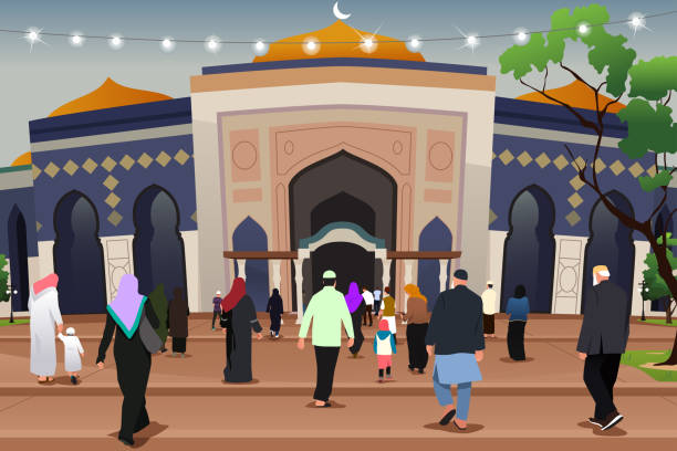 Muslims Going to Mosque to Pray Illustration vector art illustration