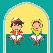 Muslims ready for reading a holy book (alQuran), Islamic concept for Ramadan holy month