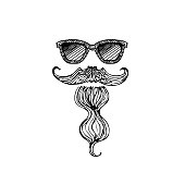 istock Mustache and beard icon of hipster or viking, spanish, mexican man. 1207827449