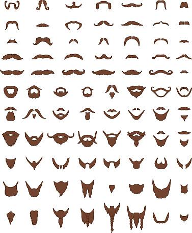 Mustache and Beards Vector Set