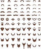Vector illustration of a mustache and beard. 83 objects collection. Each object in a group.