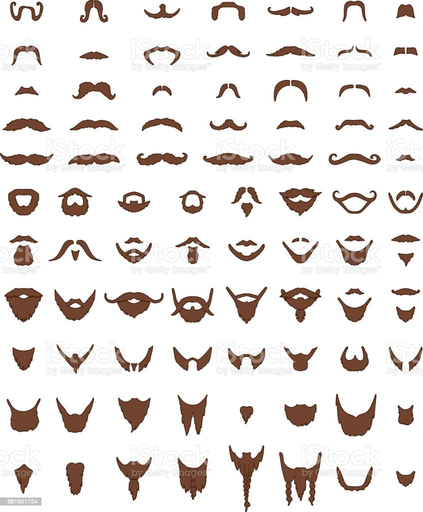 Bigode e barba Vector Set - ilustração de arte em vetor