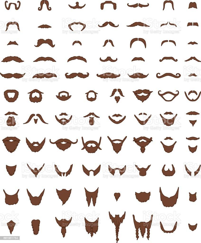 Mustache and Beards Vector Set vector art illustration