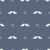 Mustache and eye hipster seamless pattern. Blue repeatable background for boys.
