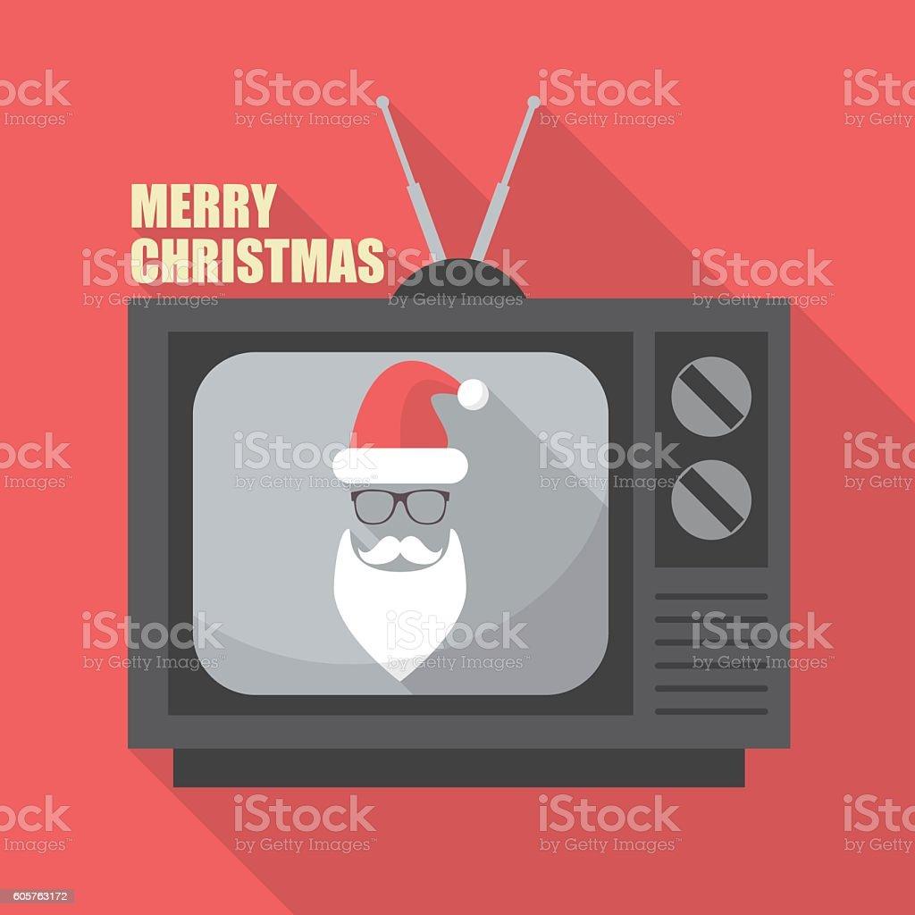Mustache and Glasses of Santa in Retro Television vector art illustration