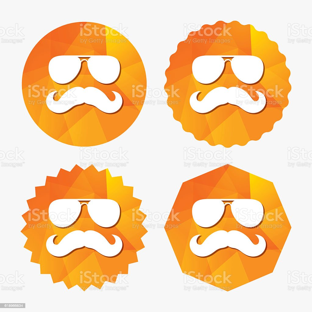 Mustache And Glasses Sign Icon Hipster Symbol Stock Vector Art