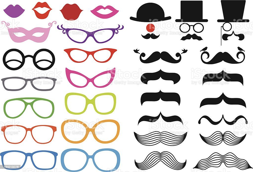 mustache and spectacles, vector set vector art illustration