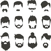 Mustache beard set hairstyle black silhouette fashion vector illustration