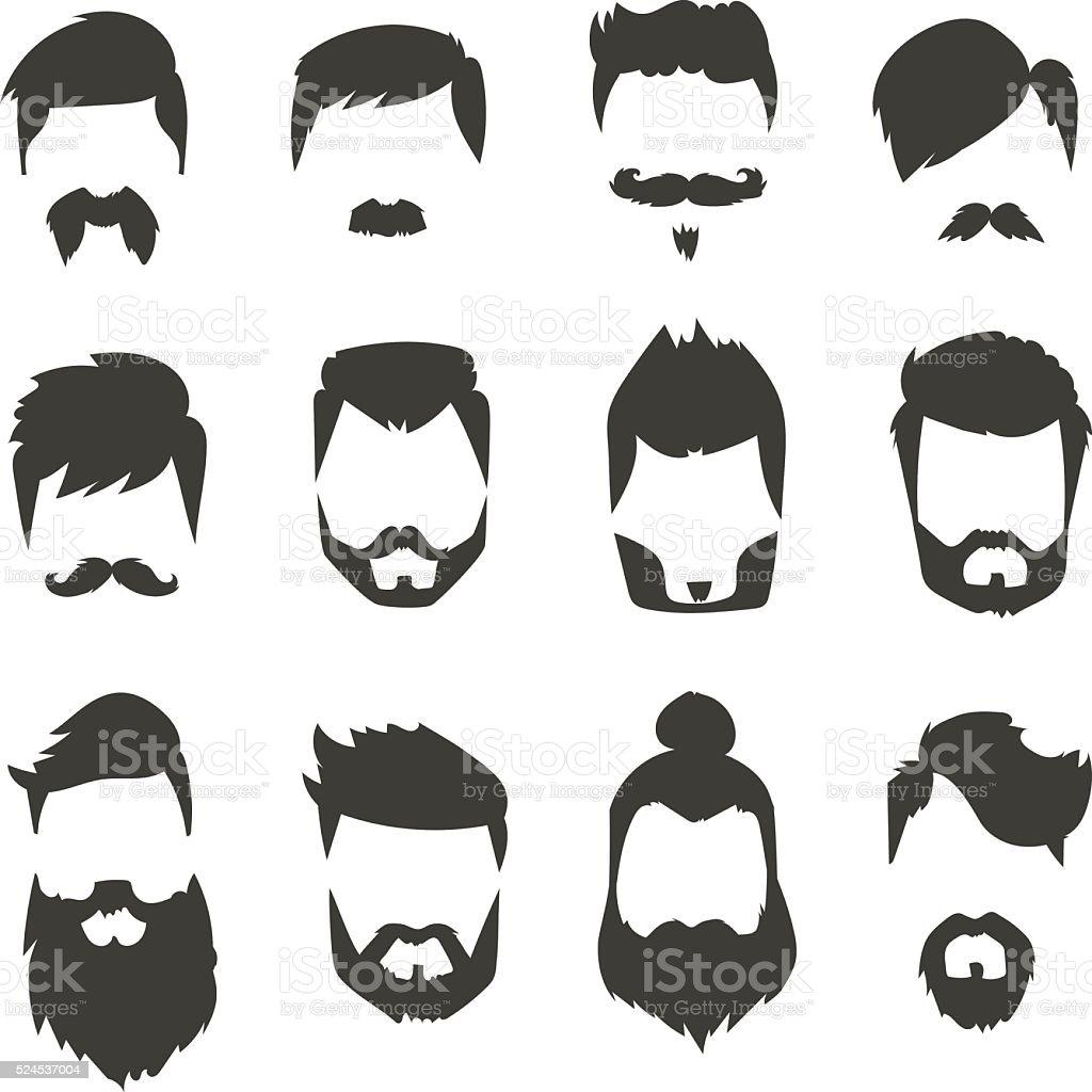 Bigode barba conjunto penteado Silhueta negra ilustração vetorial de moda - ilustração de arte em vetor