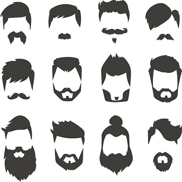 ilustraciones, imágenes clip art, dibujos animados e iconos de stock de bigote barba de estilo silueta negra de moda de ilustración de vectores - cabello largo