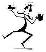 Mustache cook carries a tray with coffee or tea cup and cream in one hand and a tea or coffee pot in another black on white illustration