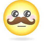 Mustache Emoji or emoticon icon Simple
