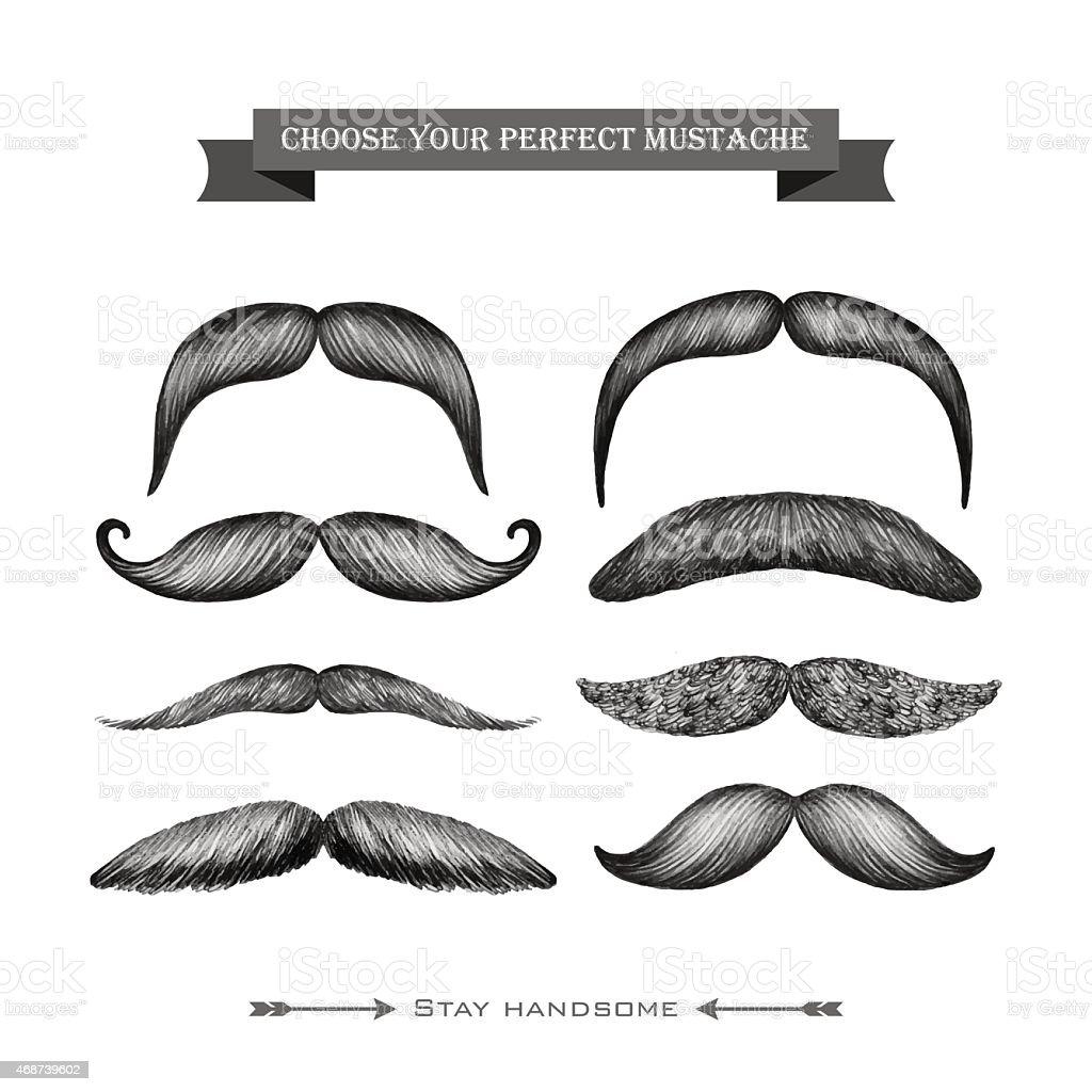 Mustache hand drawn set vector art illustration