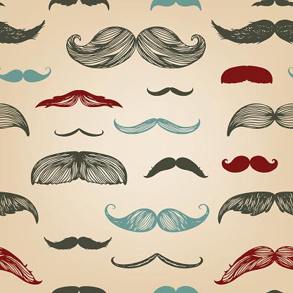 Mustache hand-drawn seamless set