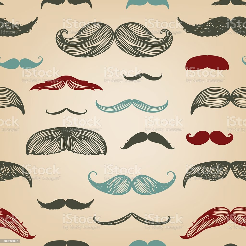 Mustache hand-drawn seamless set vector art illustration