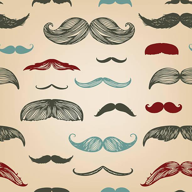 ilustrações, clipart, desenhos animados e ícones de bigode mão desenhada conjunto de sem - bigode