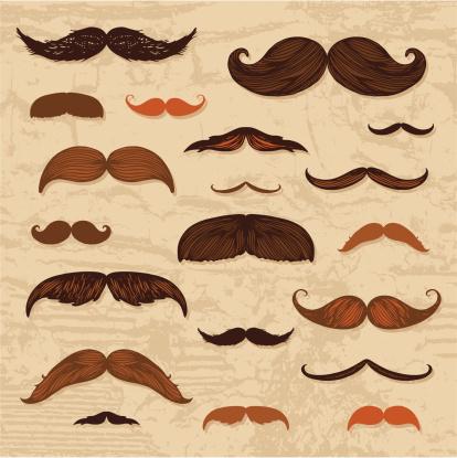 Mustache hand-drawn set