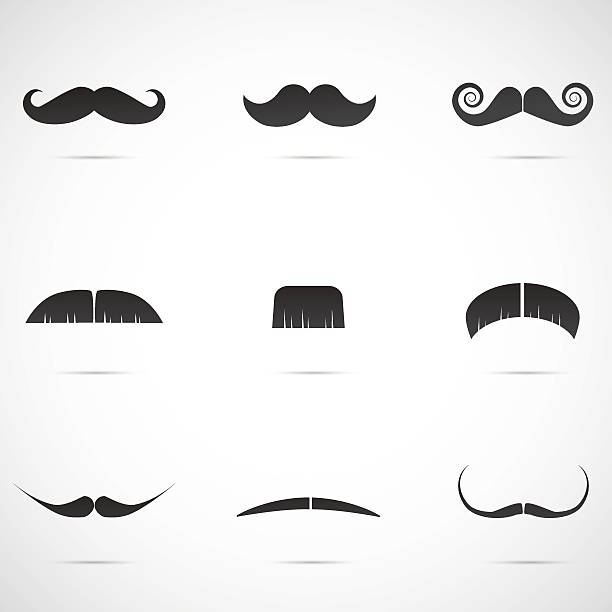 ilustrações, clipart, desenhos animados e ícones de mustache icon set isolated on white background. - bigode
