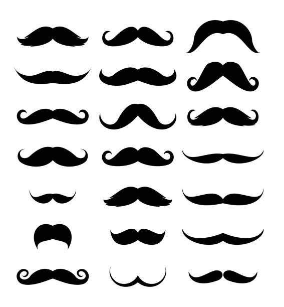 Mustache icon set vector vector art illustration