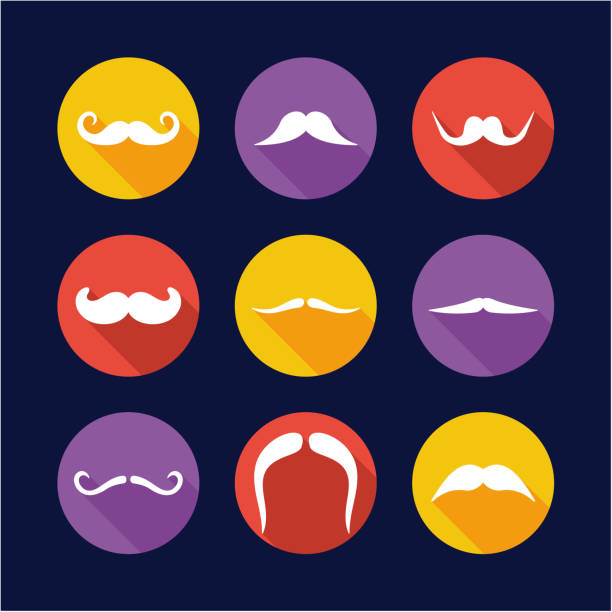 mustache icons flat design circle - old man mask stock illustrations