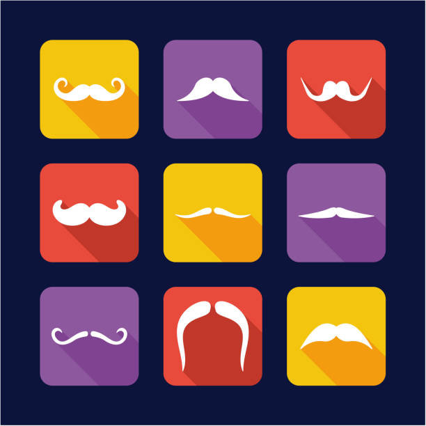 mustache icons flat design - old man long beard silhouettes stock illustrations, clip art, cartoons, & icons