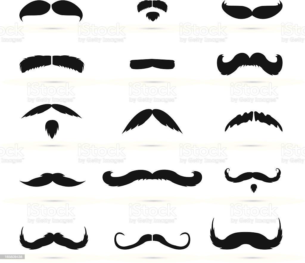 Mustache icons vector art illustration