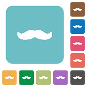 Mustache rounded square flat icons