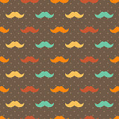 Mustache seamless patterns.Seamless pattern included in swatch panel.Vector background.